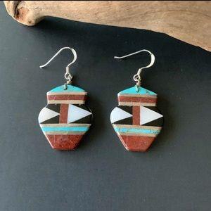 Vintage Native American Inlay Earrings